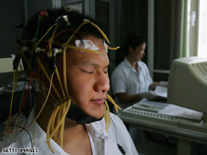 Scientists use electroencephalography, or brain wave-reading technology, to measure brain activity.