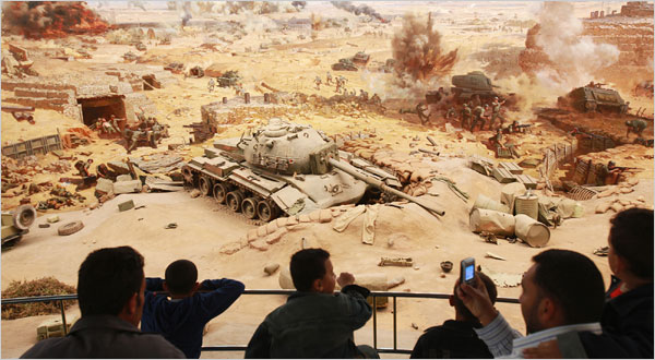 Visitors to a museum in Cairo last week viewed scenes from Egypt's 1973 war with Israel. Officially, Egypt noted the 30th anniversary of a peace treaty with Israel.