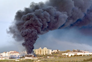 Gaza under Israeli fire during the 22-day war.