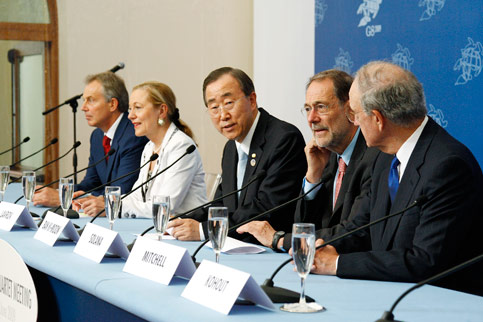 EU foreign policy chief Javier Solana (second from right) at a joint press conference with the Middle East Quartet (US, EU, Russia, and UN), June 2009. (Mark Garten/UN Photo)