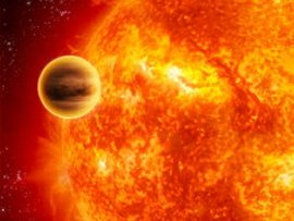 An artist's concept of an exoplanet orbiting close to its sun. Image credit: NASA