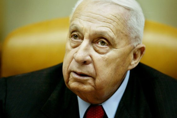 Ariel Sharon at a cabinet meeting in his Jerusalem office in 2005. AP Photo/Oded Balilty.