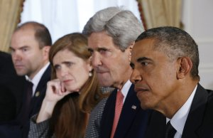 Deputy National Security Adviser Ben Rhodes, US Ambassador to the UN Samantha Power, US Secretary of State John Kerry, and US President Barack Obama.
